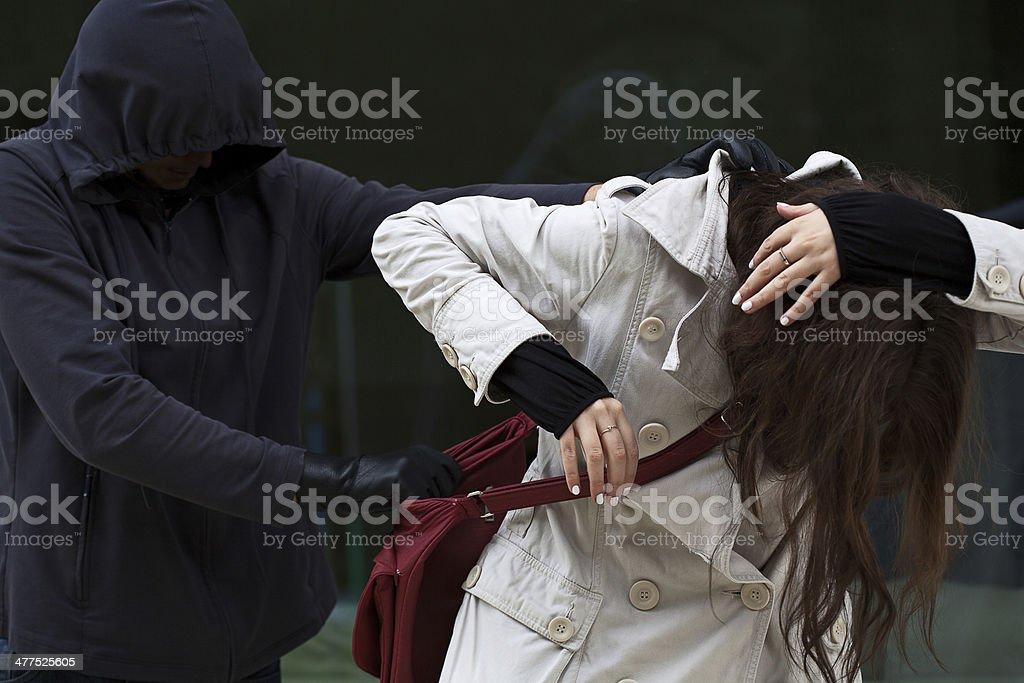 Woman in danger stock photo
