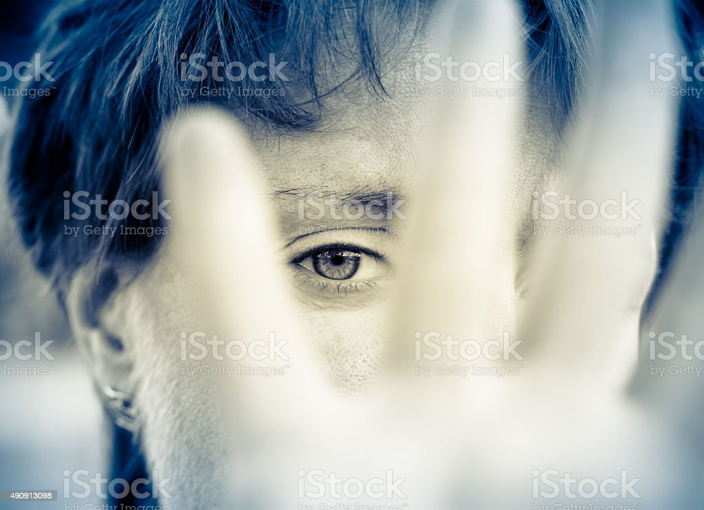 Woman in depression stock photo