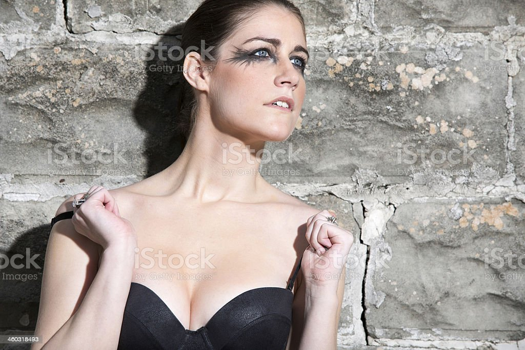 Woman in dramatic pose stock photo