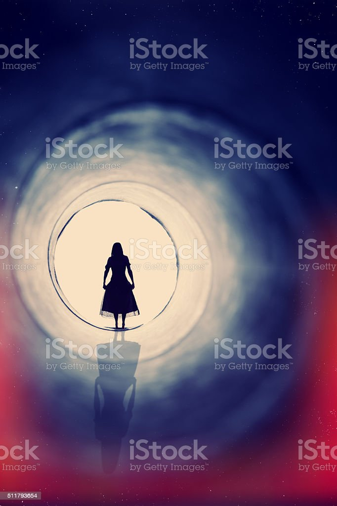 Woman In Dress Near Death Experience stock photo