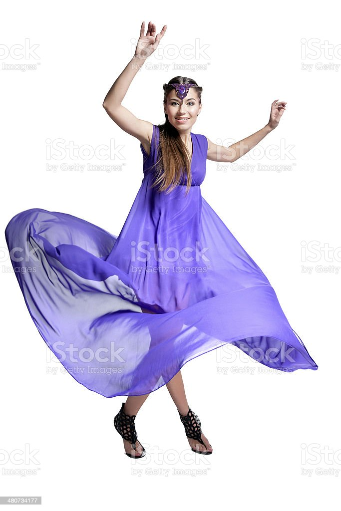 woman in dress spinning stock photo