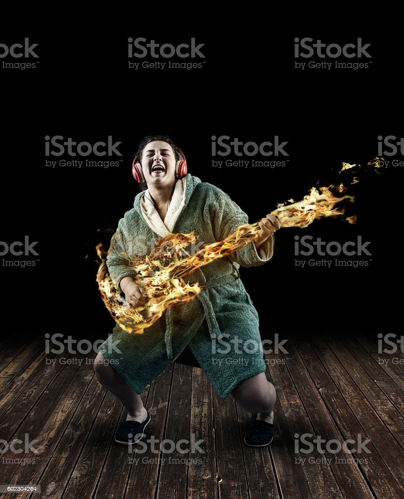 Woman in dressing gown stock photo