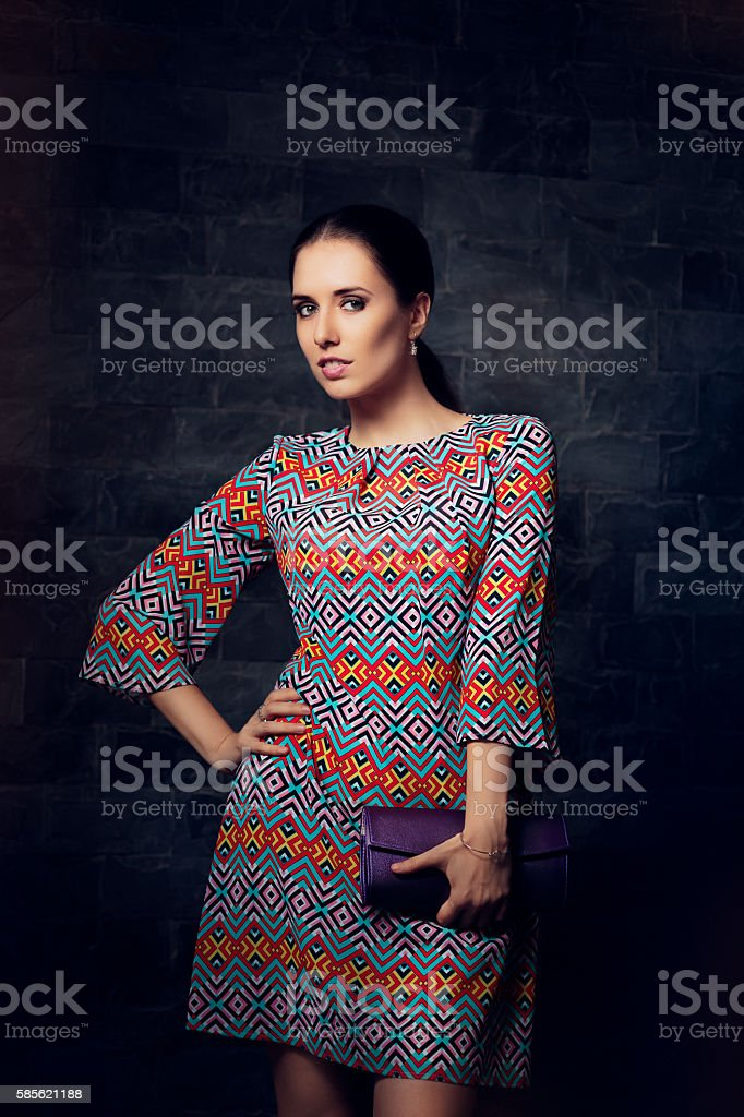 Woman in Elegant Cocktail Dress Holding Her Purse stock photo