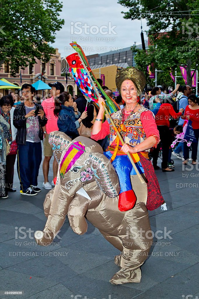 Woman in elephant costume at multicultural festival in Sydney stock photo