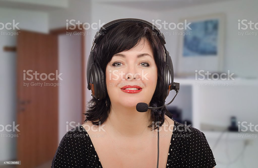 Woman in English phonetics lesson online stock photo