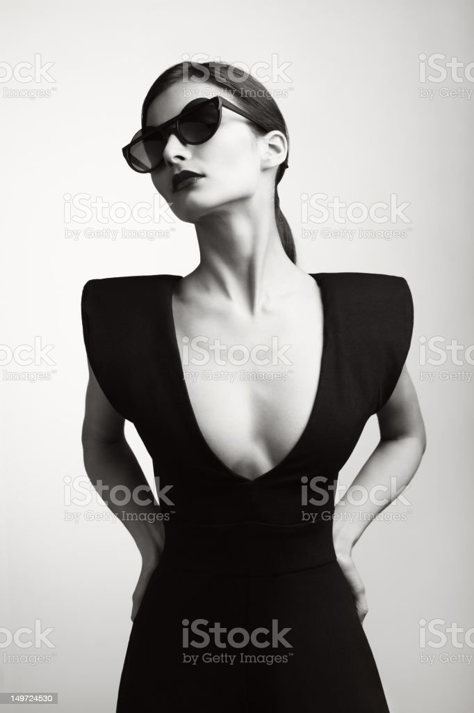 Woman in fashionable stylish clothes royalty-free stock photo