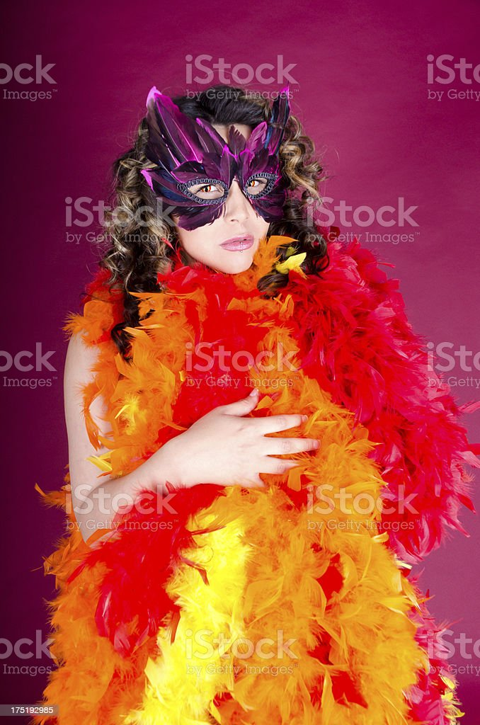 Woman in feather mask and cloak. stock photo