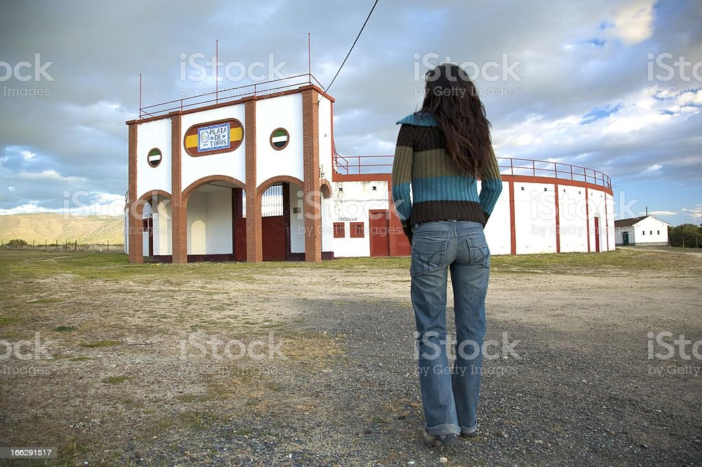woman in front of bullring royalty-free stock photo
