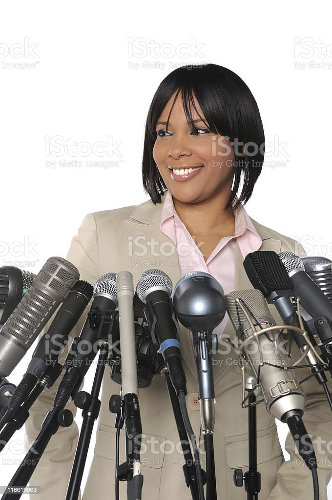 Woman In front of Microphones royalty-free stock photo