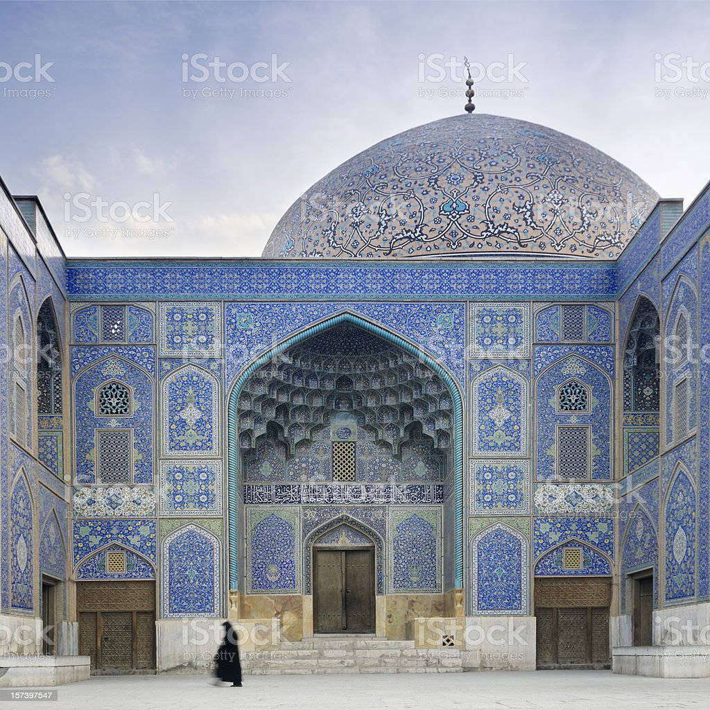 Woman in front of Sheikh Lotf Allah Mosque, Isfahan, Iran stock photo