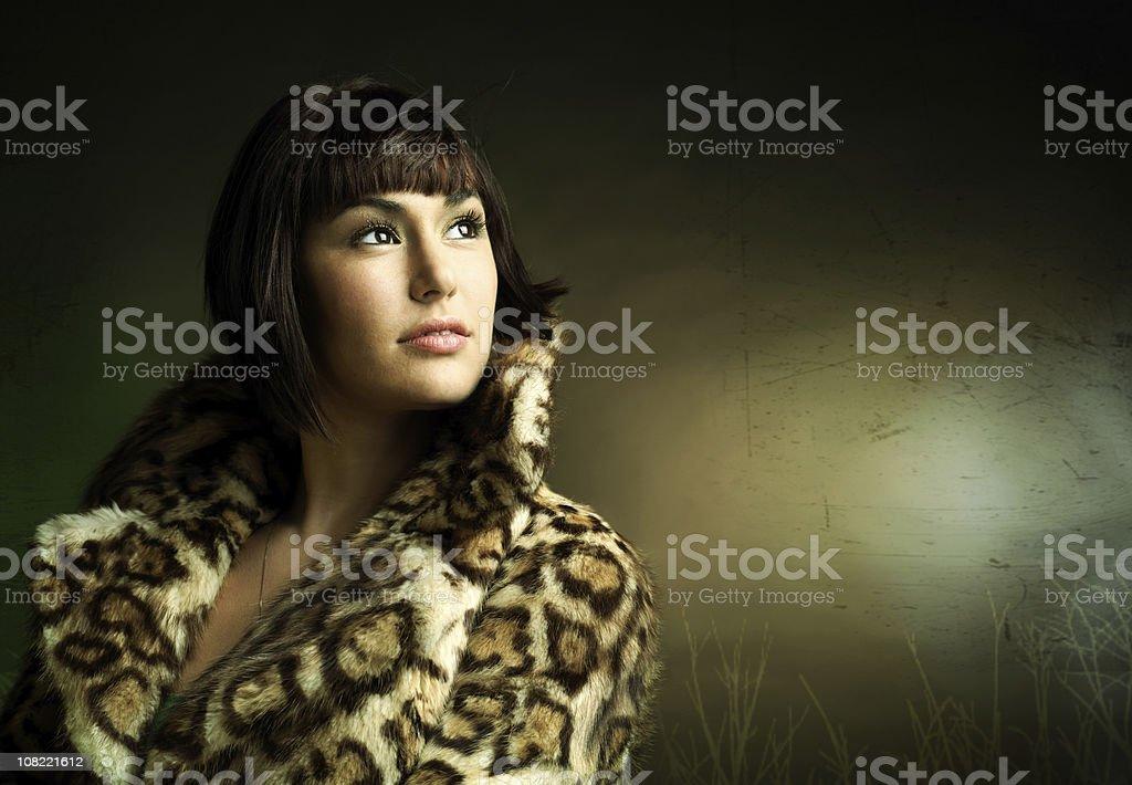 Woman in fur coat royalty-free stock photo