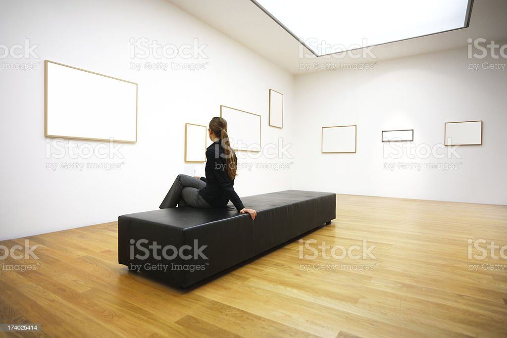 woman in gallery royalty-free stock photo