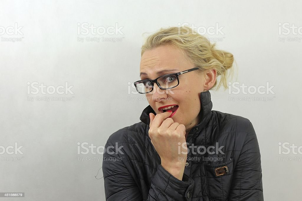 woman in glasses -silly faces royalty-free stock photo