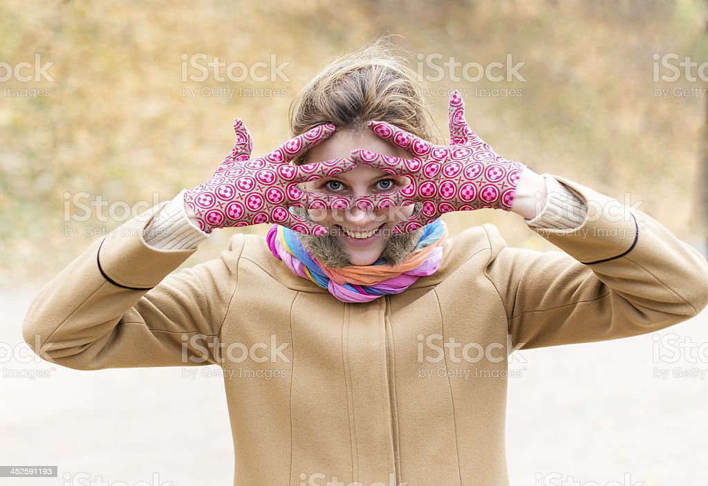 Woman in gloves stock photo
