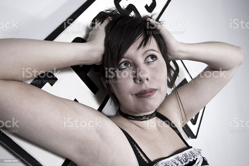 Woman in Goth Style Clothing royalty-free stock photo