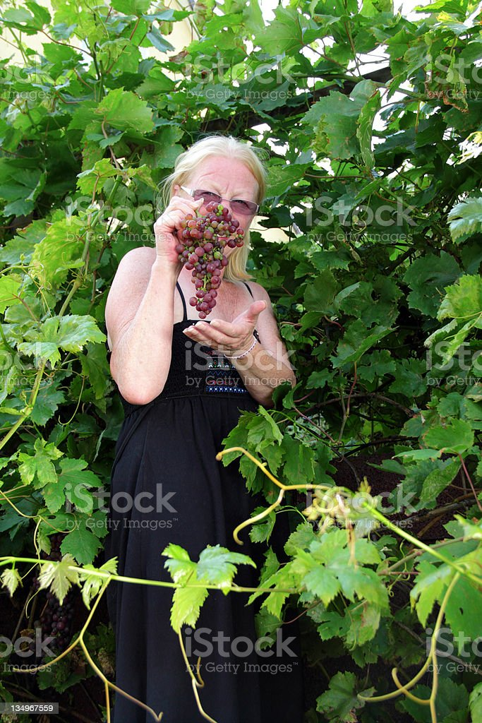 woman in grapevine stock photo