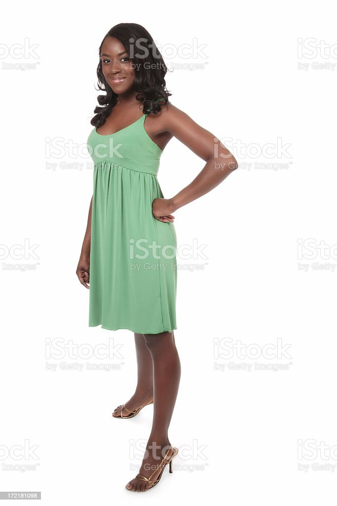 Woman in Green Dress stock photo