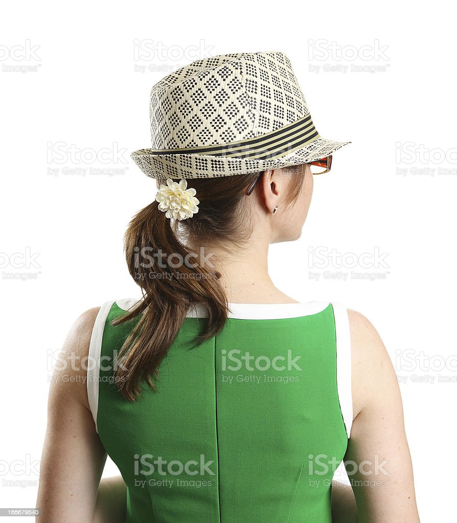 Woman In Green Dress With Fedora royalty-free stock photo