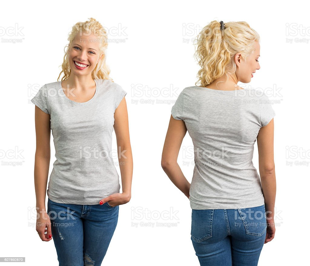 Woman in grey round neck T-shirt stock photo