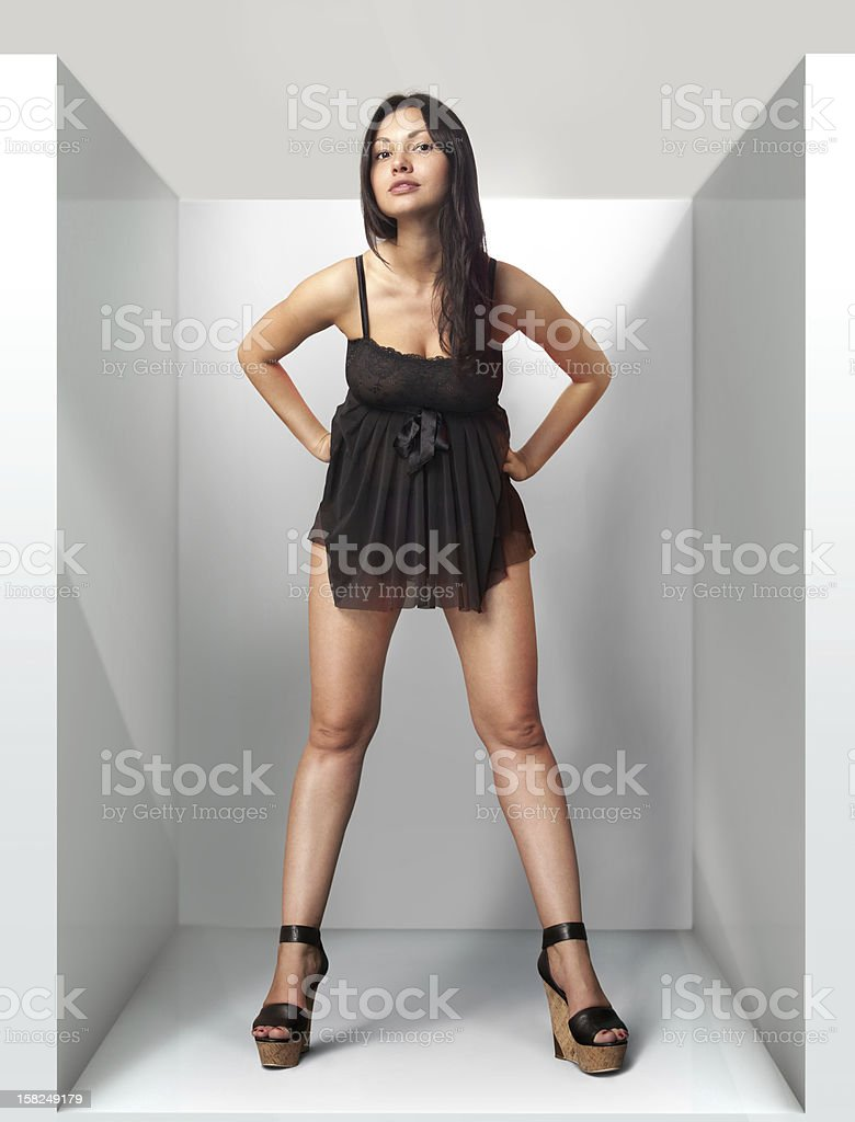 woman in grey wardrob royalty-free stock photo