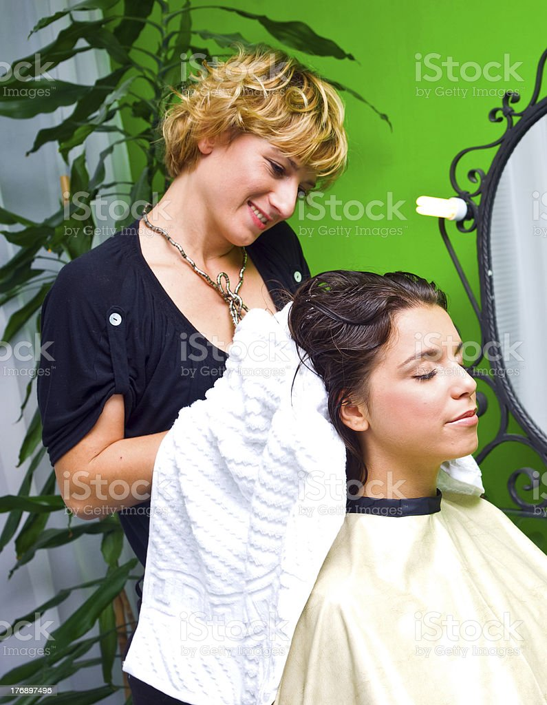 woman in hair salon royalty-free stock photo