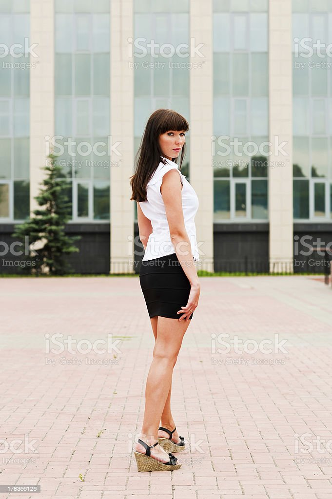 woman in half a turn royalty-free stock photo