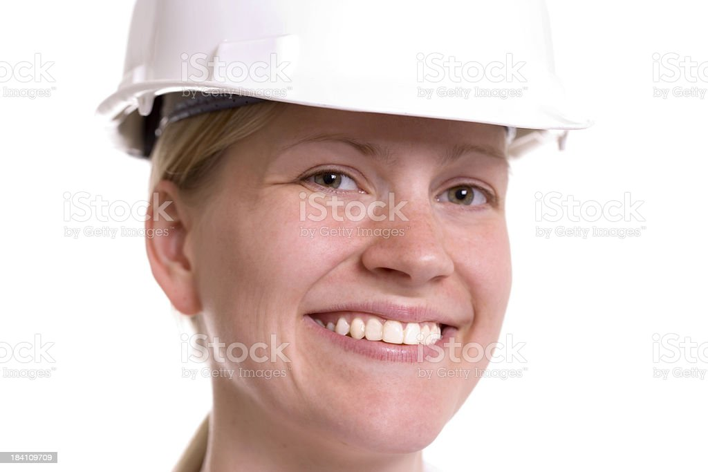 Woman in Hard Hat stock photo