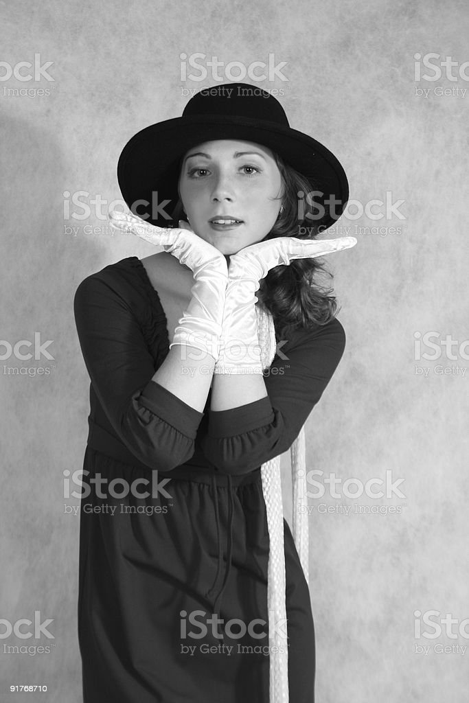 Woman in hat and gloves royalty-free stock photo