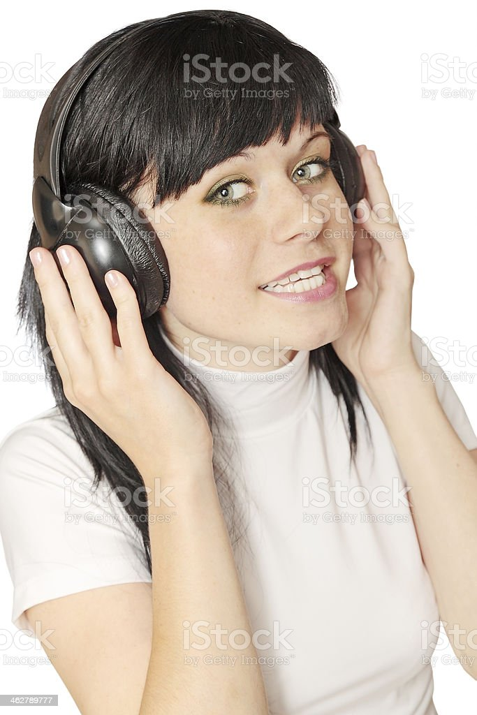 woman  in head sets stock photo