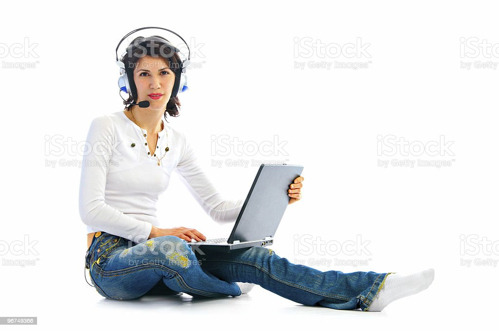 woman in headphones with laptop royalty-free stock photo