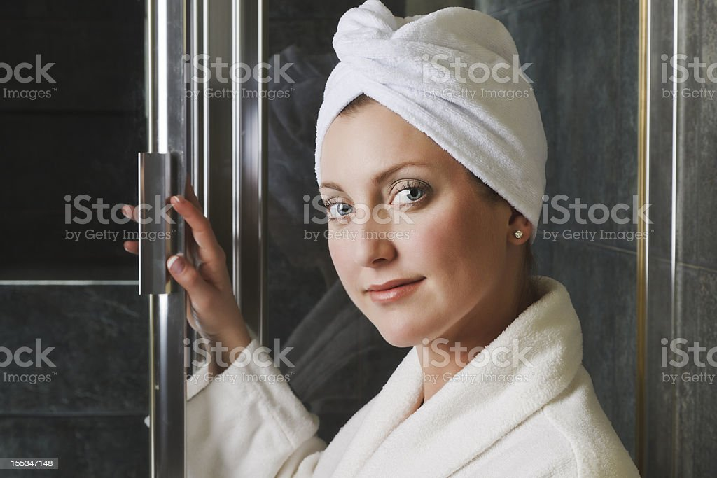 Woman in Headwrap and Robe at the Spa royalty-free stock photo
