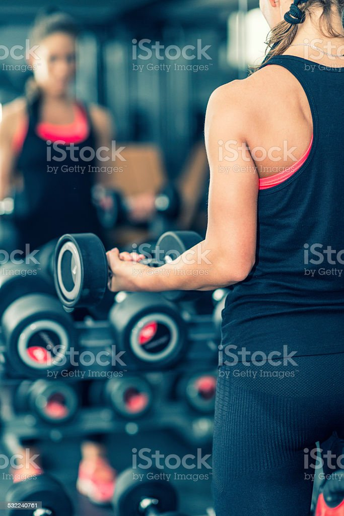 Woman in health club stock photo