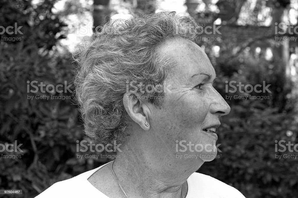Woman in her sixties (B/W) royalty-free stock photo