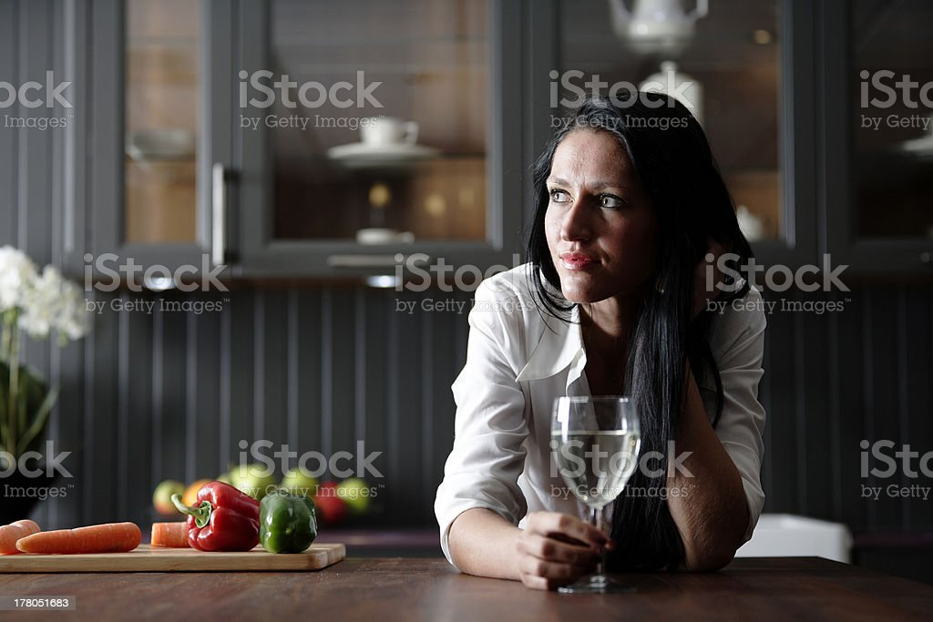 Woman in her stylish kitchen stock photo