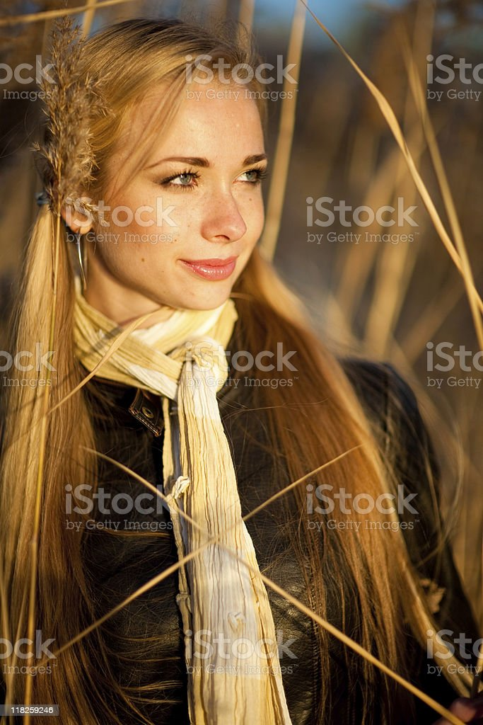 Woman in high grass stock photo