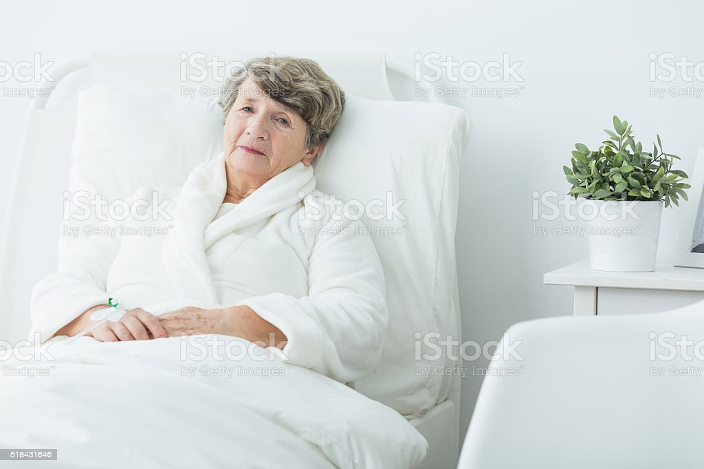 Woman in hospital stock photo
