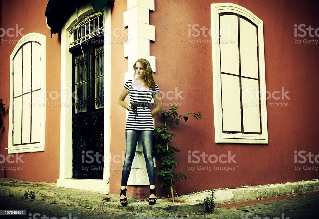 Woman in italian streets... royalty-free stock photo