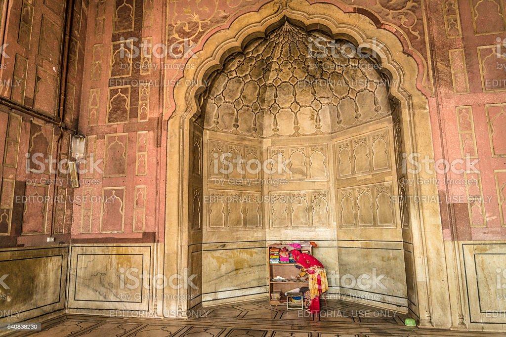 Woman in Jama Masjid Mosque stock photo