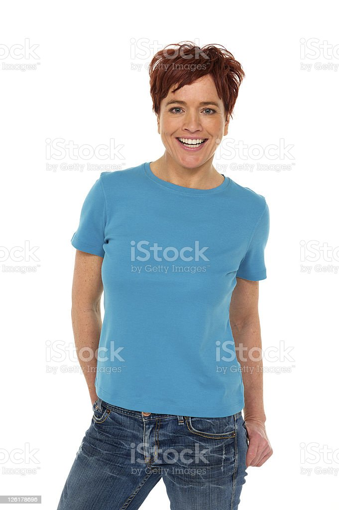Woman in jeans an t-shirt royalty-free stock photo
