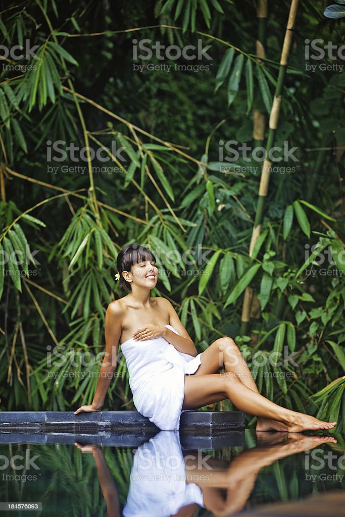 woman in jungle spa royalty-free stock photo