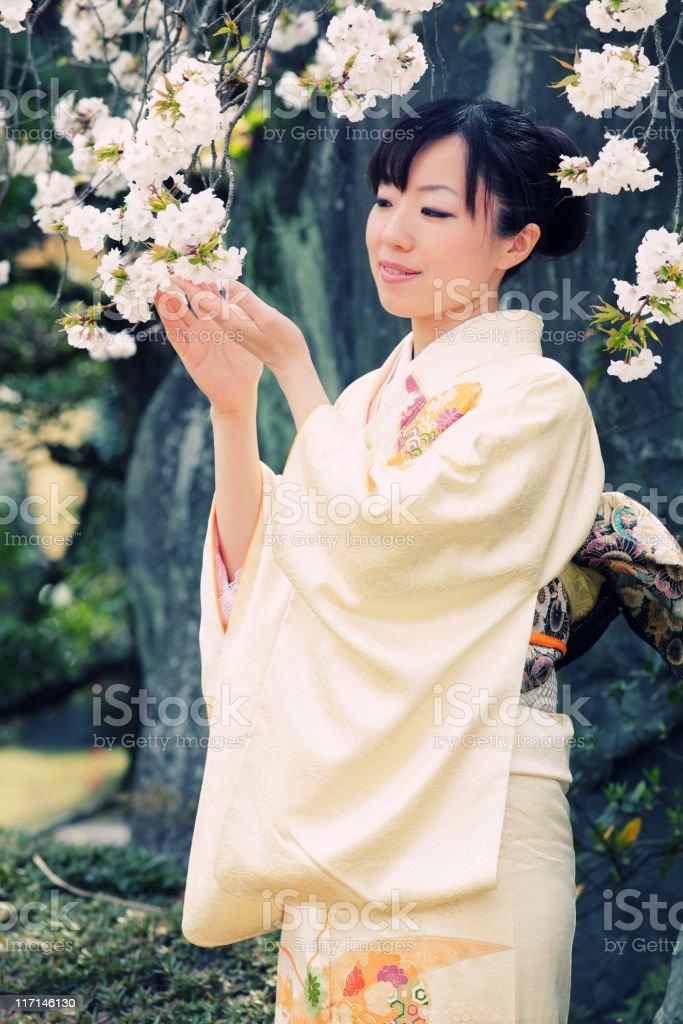 Woman in kimono looking at sakura flowers stock photo