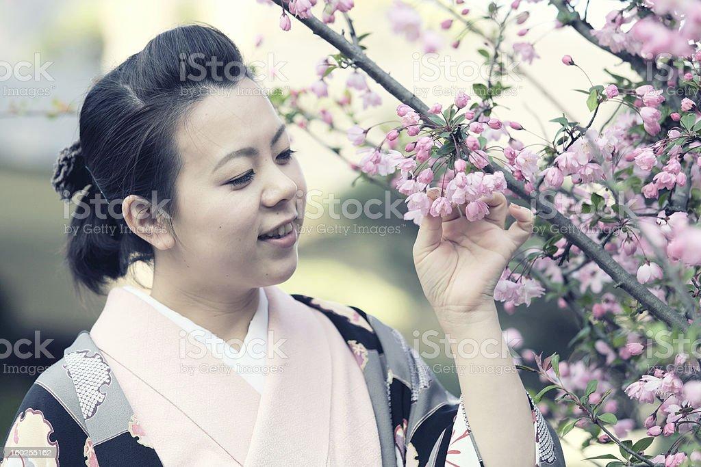 Frau im kimono, die im sakura Blumen Lizenzfreies stock-foto
