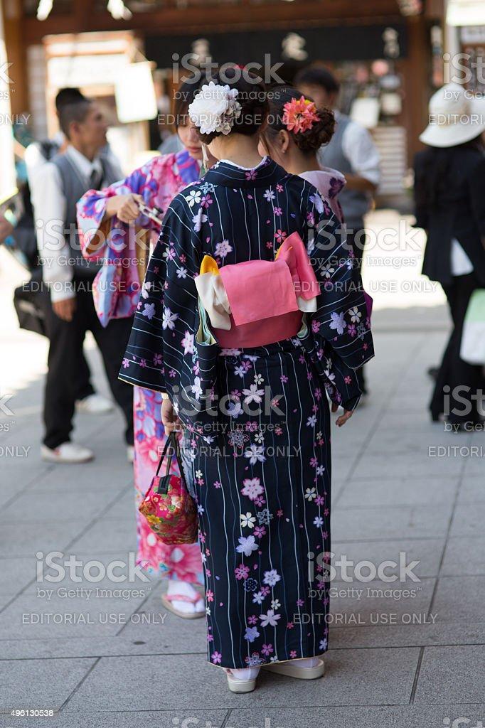 Woman in kimono stock photo