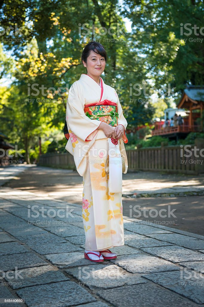 Woman in kimono. stock photo