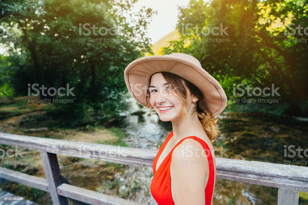 Woman in Krka National Park stock photo