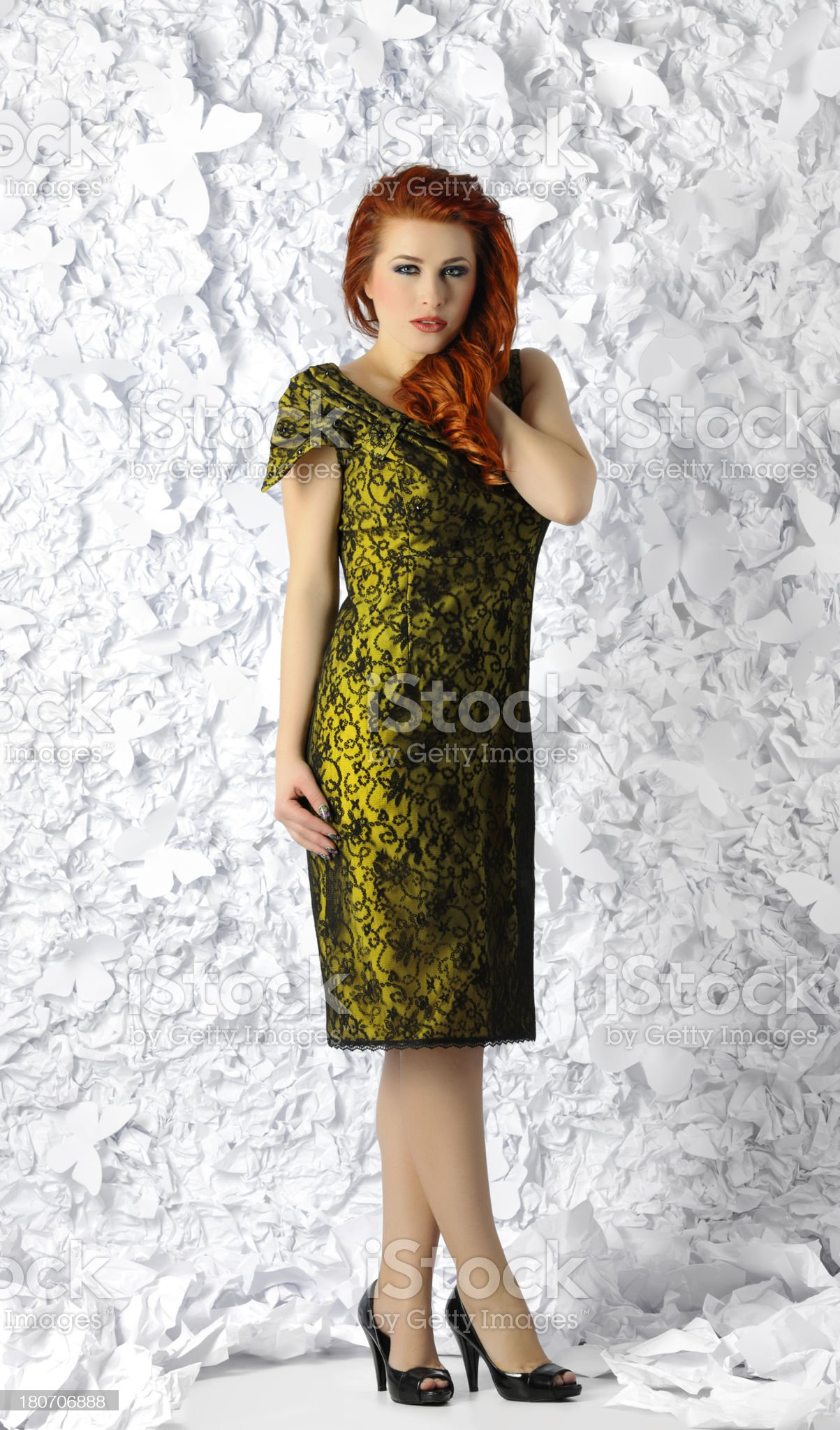 woman in lace dress royalty-free stock photo