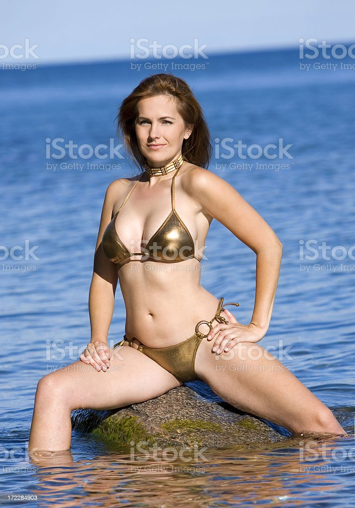 woman in lake royalty-free stock photo