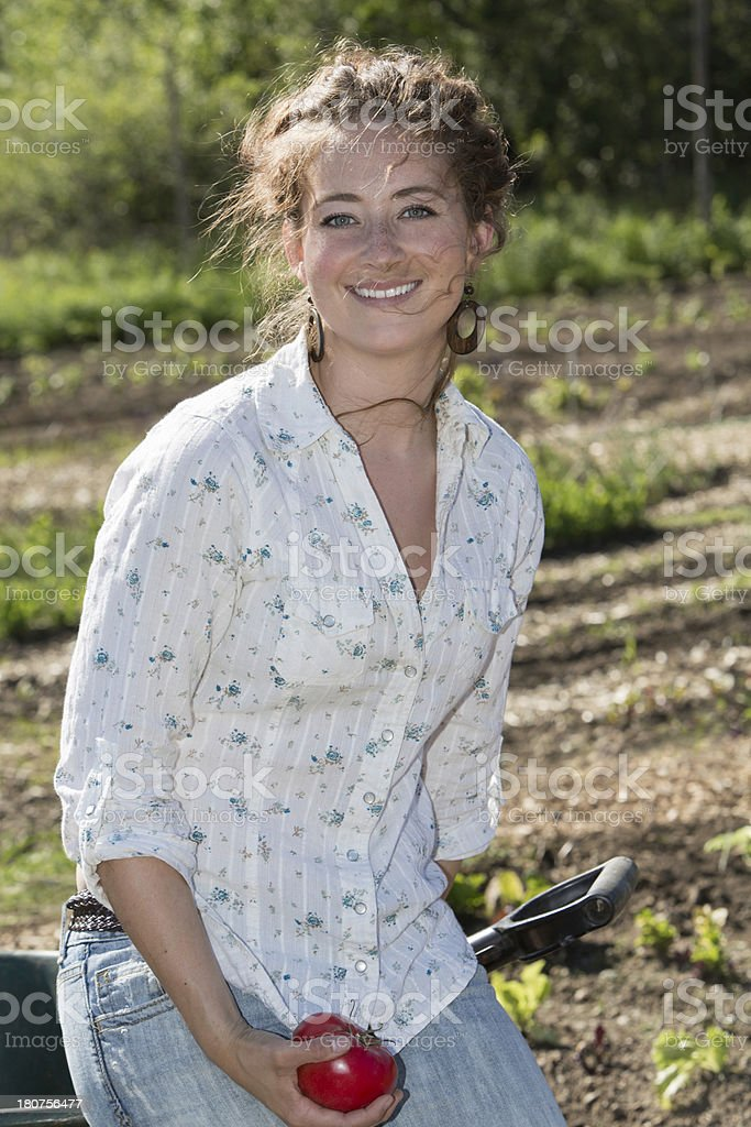 Woman in large Garden royalty-free stock photo