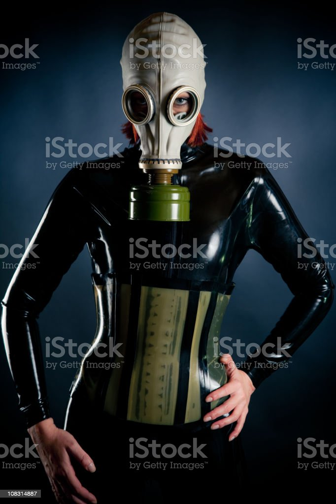 woman in latex catsuit stock photo