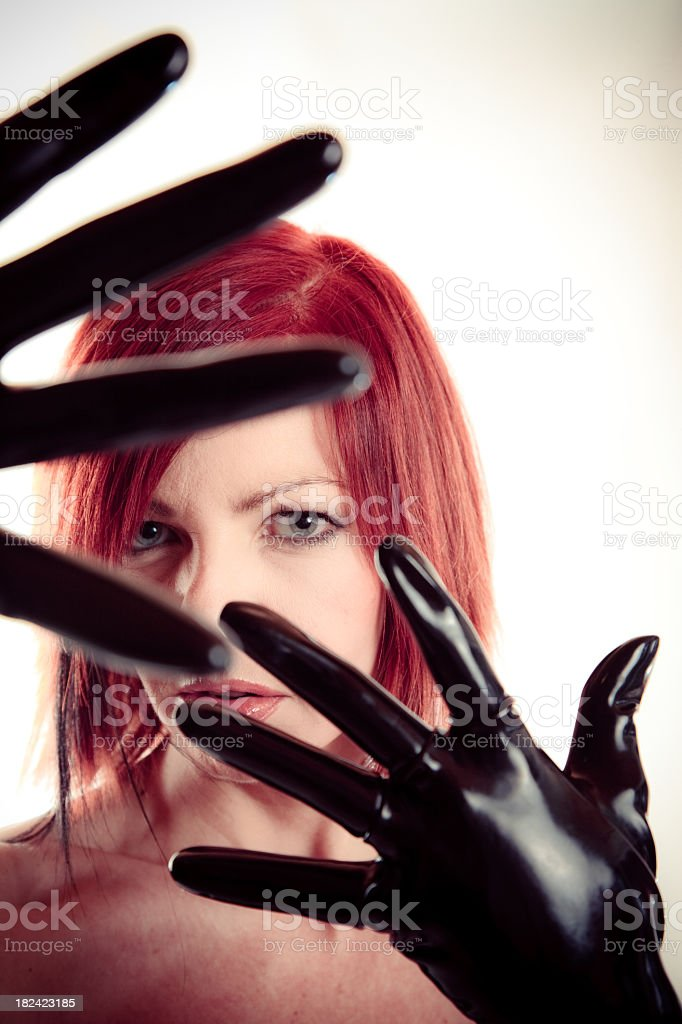 woman in latex clothing royalty-free stock photo